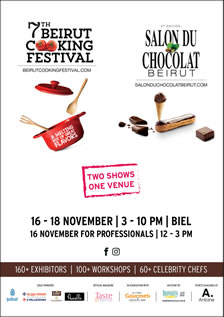 7th Beirut Cooking Festival & 4eme Salon du Chocolat Beirut- Two Shows One Venue| 16-18 november
